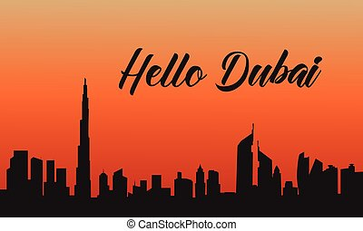 Dubai city at sunset of silhouette