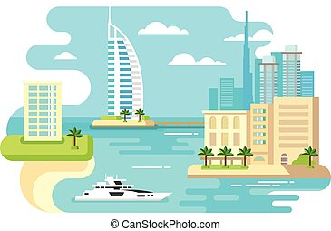 Dubai City Beach Skyline - Dubai city beach skyline concept...
