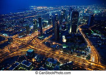 Dubai city evening view