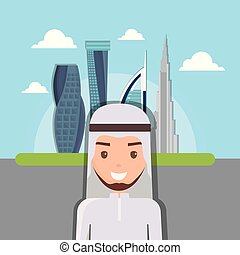 dubai city modern building cityscape skyline with arab people