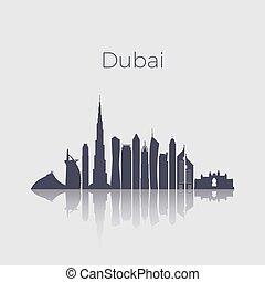 Dubai city modern buildings silhouette vector skyline. Uae emirates landmark cityscape