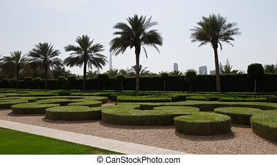 Dubai City Park with view of skyscrapers of United Arab...