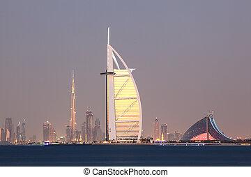 Dubai city skyline at dusk, United Arab Emirates