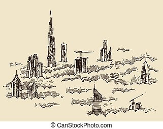 Dubai City Skyline Hand Drawn, Engraved Vector