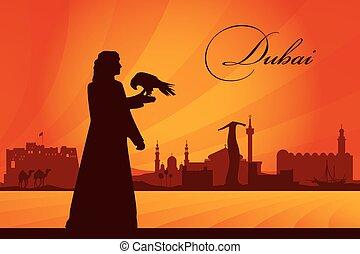 Dubai city skyline silhouette background