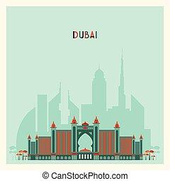 Dubai City skyline Silhouette. Flat Trendy Design.