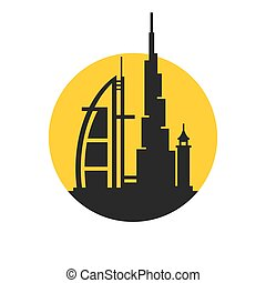 Dubai City Skyline Silhouette Icon on White Background. Vector