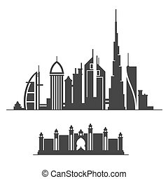 Dubai City Skyline Silhouette on White Background. Vector