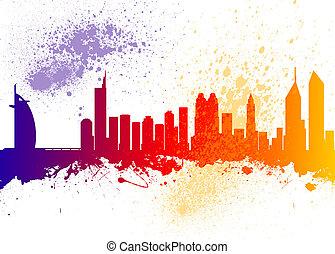 Dubai City Skyline Silhouette - Watercolor art print of the ...