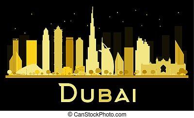 Dubai City skyline silhouette with golden skyscrapers.