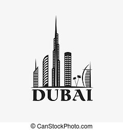 Dubai City Skyline vector design template