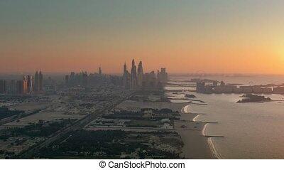dubai, coucher soleil, aérien, résidentiel, emirats, jumeirah, uni, vue, arabe, côtier, secteur
