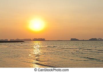 dubai, coucher soleil