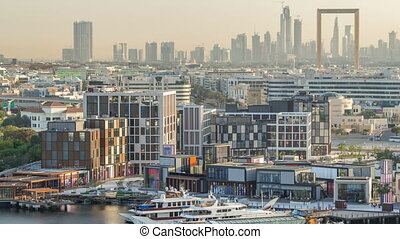 Dubai creek landscape timelapse with boats and ship near...