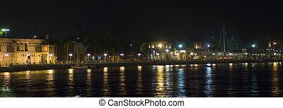 Dubai Creek Nightscape - Dubai Creek or Abra in night mode.