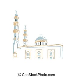 dubai, dibujo, este, bosquejo, mano, árabe, mezquita, unido...