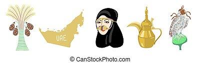 dubai, dibujo, este, conjunto, símbolo, icono, mano, árabe, ...