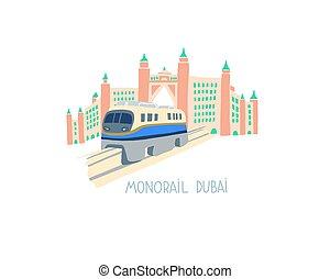 dubai, dibujo, este, estilo, mano, plano, árabe, unido, ...
