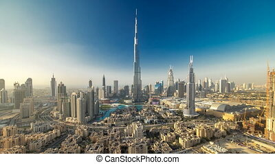 Dubai Downtown at evening timelapse view from the top in Dubai, United Arab Emirates