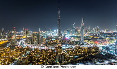 Dubai Downtown at night timelapse view from the top in Dubai, United Arab Emirates