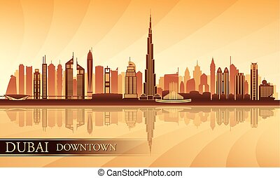 Dubai Downtown City skyline silhouette background, vector...