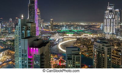 Dubai downtown cityscape with Burj Khalifa, Light Up light show aerial timelapse