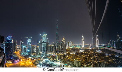 Dubai downtown cityscape with Burj Khalifa, LightUp light...