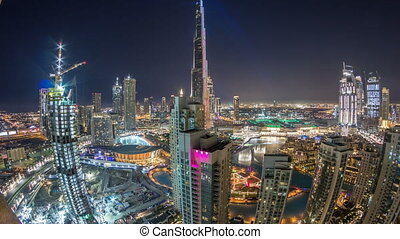 Dubai downtown cityscape with Burj Khalifa, LightUp light...