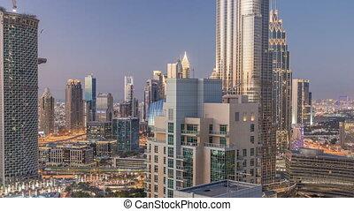 Dubai downtown day to night timelapse - Dubai downtown day...