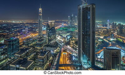 Dubai Downtown day to night timelapse modern towers...