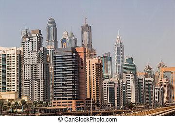 Dubai downtown. East, United Arab Emirates architecture -...