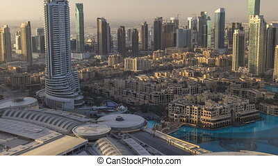 Dubai downtown morning scene timelapse. Top view from above...