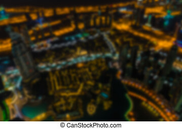 Dubai downtown night scene defocused