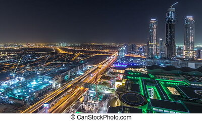 Dubai downtown night timelapse. Top view from above