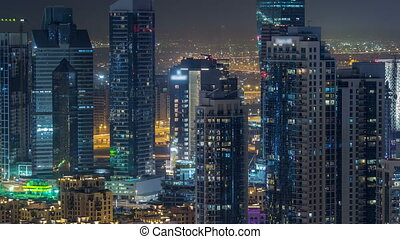 Dubai downtown night timelapse. Top view from above - Dubai...