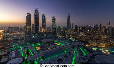 Dubai downtown night to day timelapse. Top view from above -...