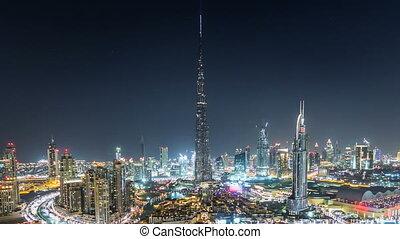 dubai, downtown, op de avond, timelapse, aanzicht, van, de, bovenzijde, in, dubai, verenigde arabische emiraten