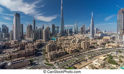 Dubai Downtown skyline timelapse with Burj Khalifa and other...