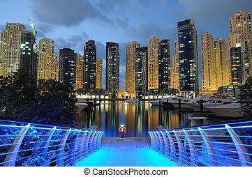 dubai, emiratos árabes unidos, puerto deportivo, noche