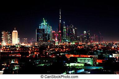 dubai, en ville, scène nuit