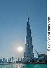 dubai, -, enero, 9, 2015:, burj, khalifa, edificio, en, enero, 9, en, uae, dubai., burj, khalifa, rascacielos, es, el más alto, en, el mundo