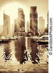 dubai, enigt, mot, arab, emirates., solnedgång, lyxvara, marina, dubai