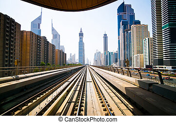 Dubai metro - DUBAI - FABRUARY 02: Dubai metro is the first ...