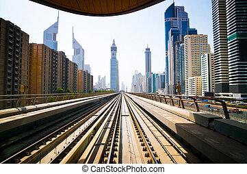 Dubai metro - DUBAI - FABRUARY 02: Dubai metro is the first...