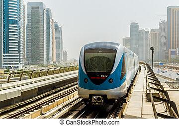 dubai, ferrocarril, metro