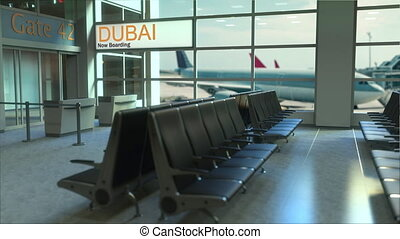 Dubai flight boarding now in the airport terminal....