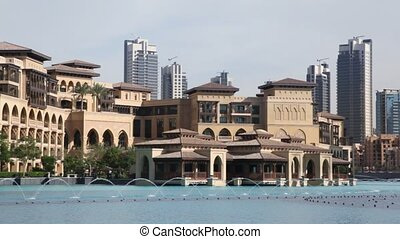 Dubai, fountain, buildings