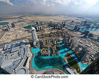 Dubai from above - View from above to the Dubai skyline