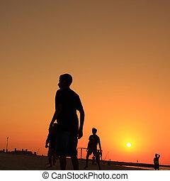 dubai, futebol, jumeira, durante, praia, sunset.