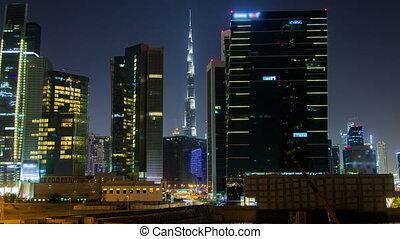dubai, gratte-ciel, business, temps, haut, baie, en ville, nuit, moule, lapse.